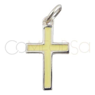 Sterling silver 925 cross pendant with yellow enamel 9 x 16 mm