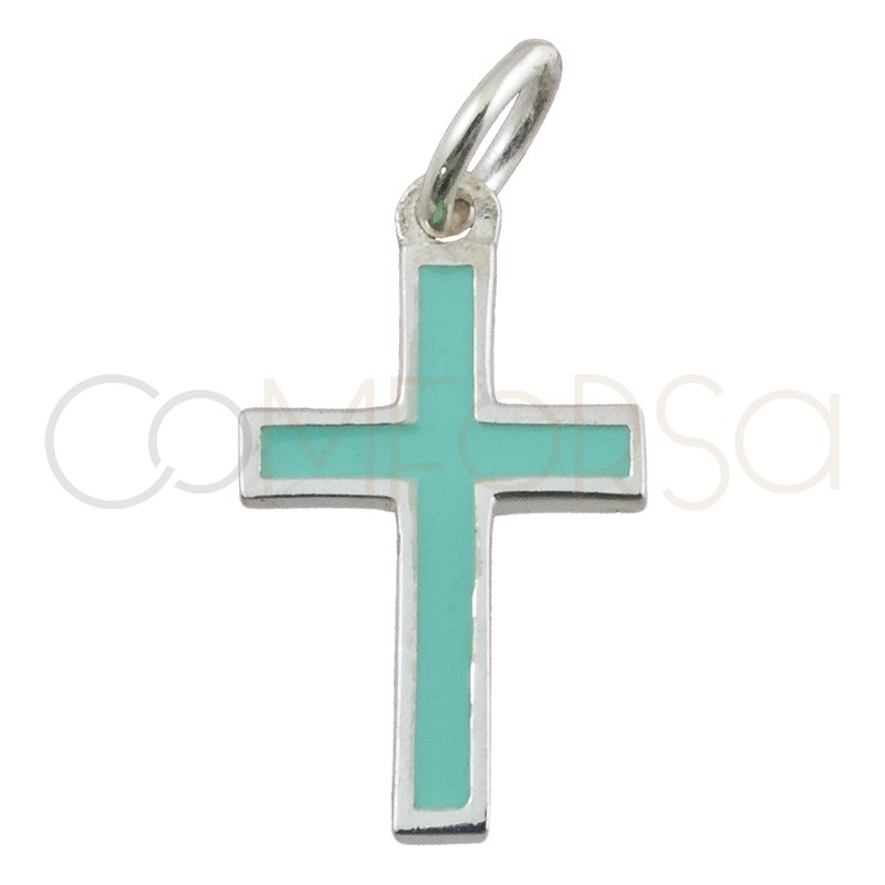 Colgante cruz esmalte verde menta 9 x 16mm plata 925