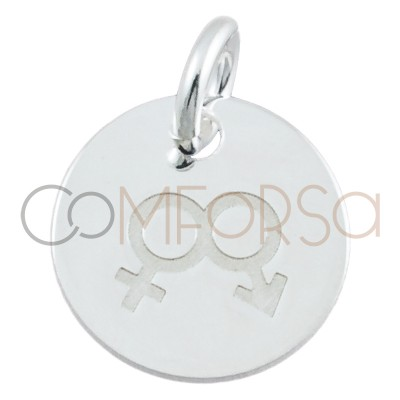 Chapa Love is Love mujer + hombre 11mm plata 925ml