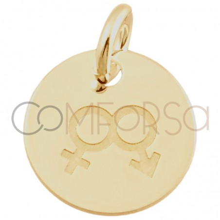 Sterling silver 925 gold-plated Love is love man and woman pendant 11 mm
