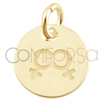 Sterling silver 925 gold-plated Love is love women pendant 11 mm