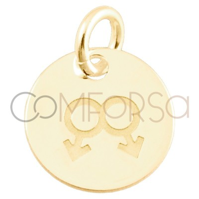 Sterling silver 925 gold-plated Love is love men pendant 11 mm