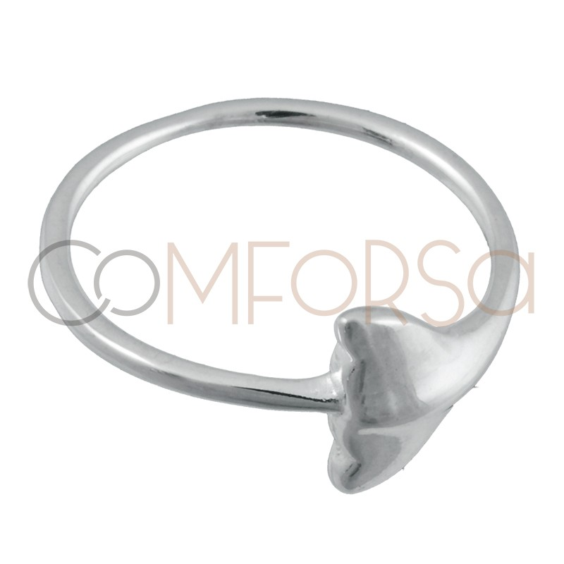 Sterling silver 925 whale tail ring 7 x 9mm