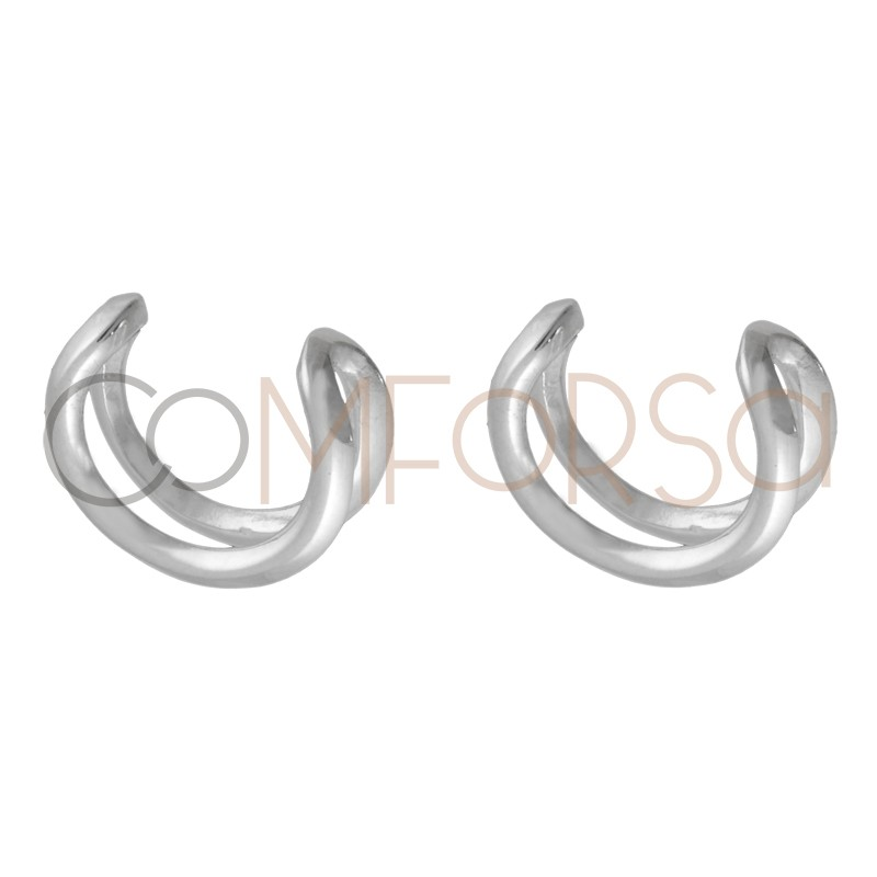 Ear cuff doble 11.5mm plata 925ml
