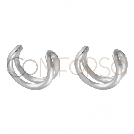 Sterling silver 925 earcuffs 2 wires 11.5 mm