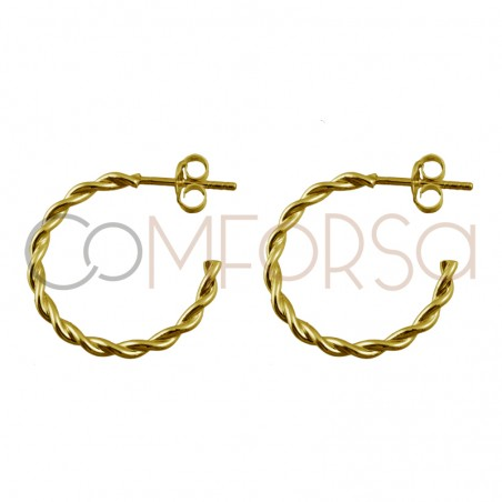 Sterling silver 925 gold plated twisted hoop 20mm