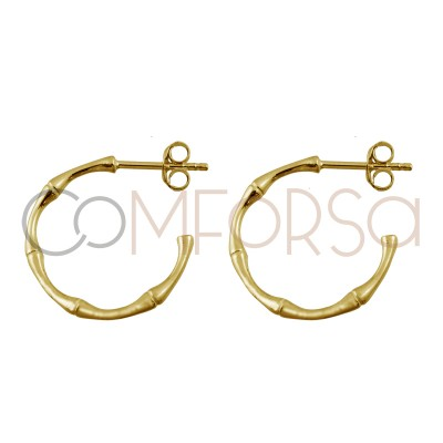 Sterling silver 925 gold plated bamboo hoop 20mm