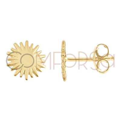 Sterling silver 925 gold plated sun earring 10mm