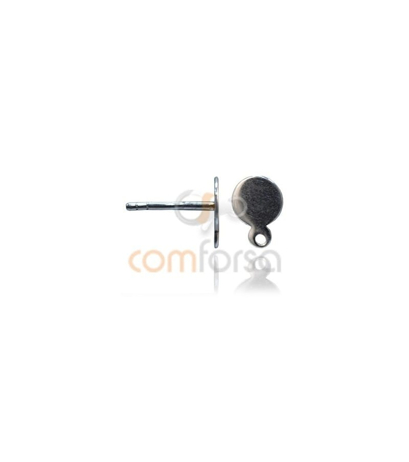 Ear post with flat cap and jump ring 6mm