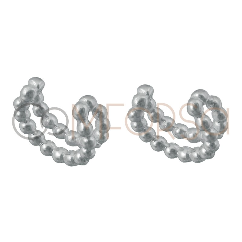 Ear cuff doble hilo bolitas 11.5 mm plata 925