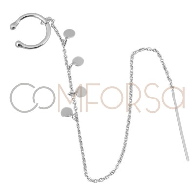 Ear cuff cadena con chapitas 13mm  plata 925