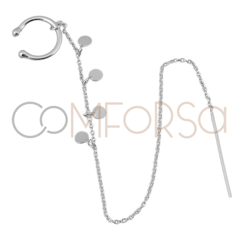 Sterling silver 925 ear cuff with chain and pendants 13 mm