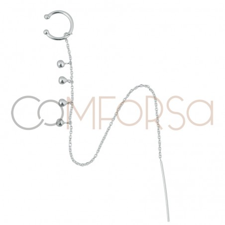 Ear cuff cadena con bolitas 13mm plata 925ml