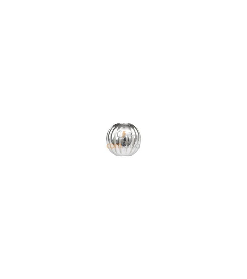 Sterling Silver 925 Round corrugated bead 5 mm