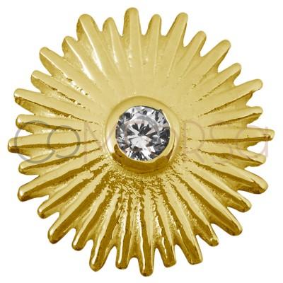 Sterling silver 925 sun pendant zirconia 14 mm