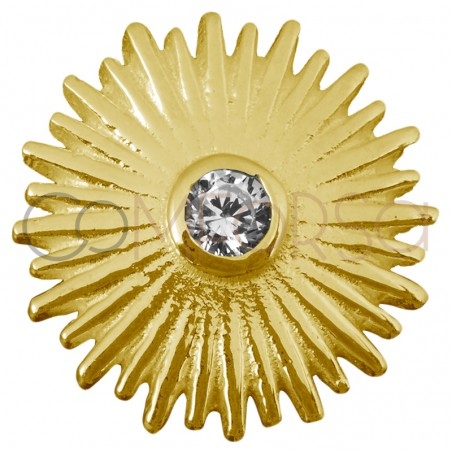 Sterling silver 925 gold-plated sun pendant zirconia 14 mm