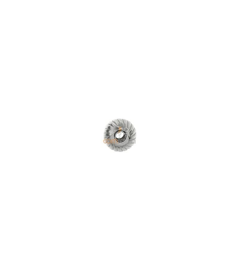 Sterling Silver 925 Round corrugated bead 7 mm