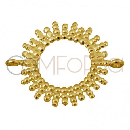 Entrepieza sol bolitas 15mm plata chapada en oro