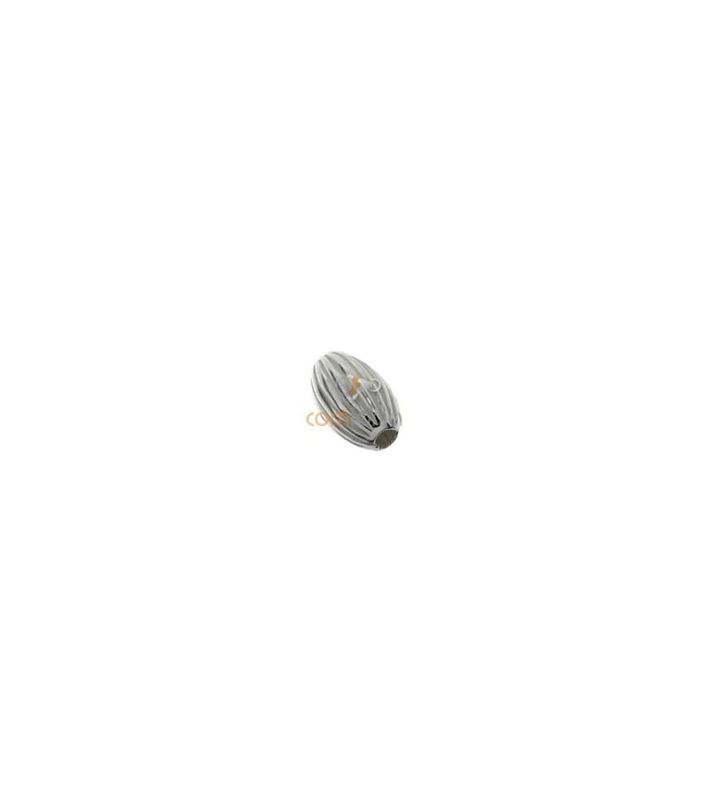 Sterling Silver 925 Corrugated oval bead 4 mm