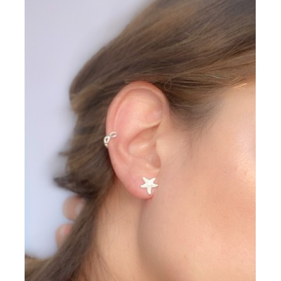 Sterling silver 925 gold-plated starfish earrings 10 mm