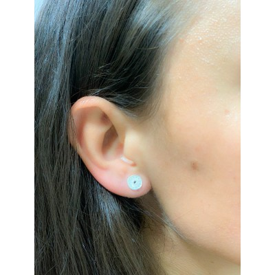 Sterling silver 925 sun with black zirconia earrings 8 mm