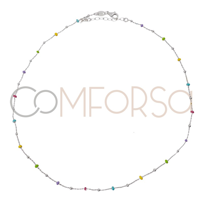 Sterling silver 925 silver and rainbow enamel balls choker