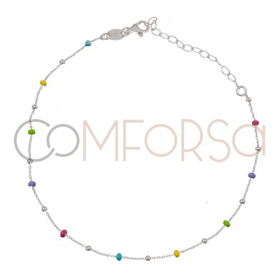 Sterling silver 925 silver and rainbow enamel balls anklet