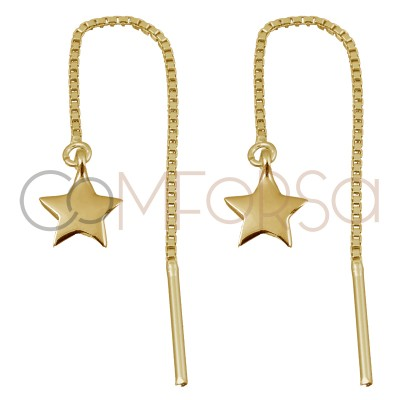 Sterling silver 925 gold-plated earring with chain and star