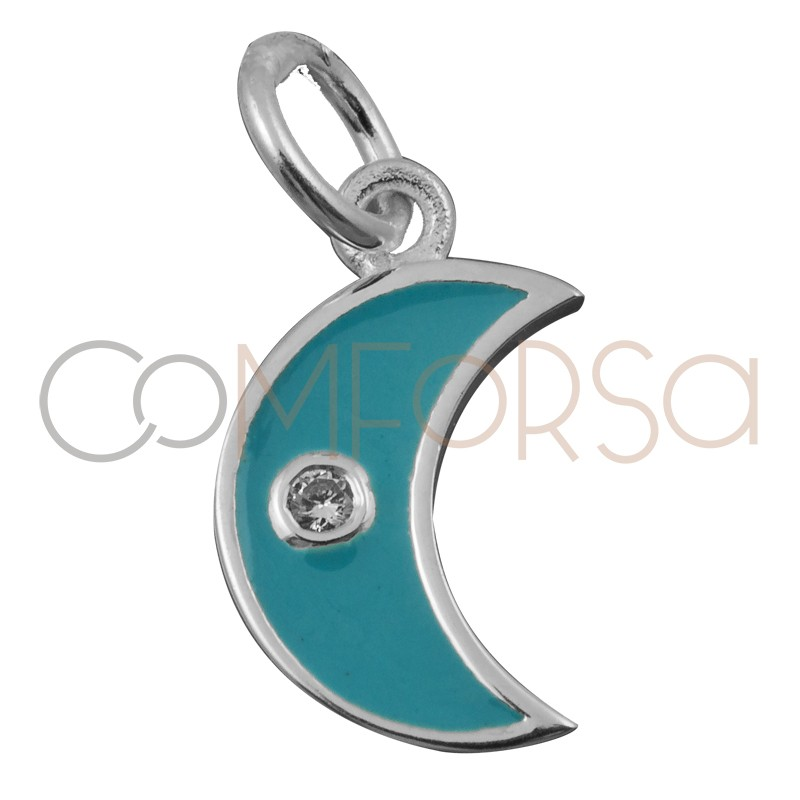 Sterling silver 925 moon with turquoise enamel 7.9 x 7mm