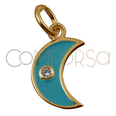 Sterling silver 925 gold-plated moon with turquoise enamel 7.9 x 7mm