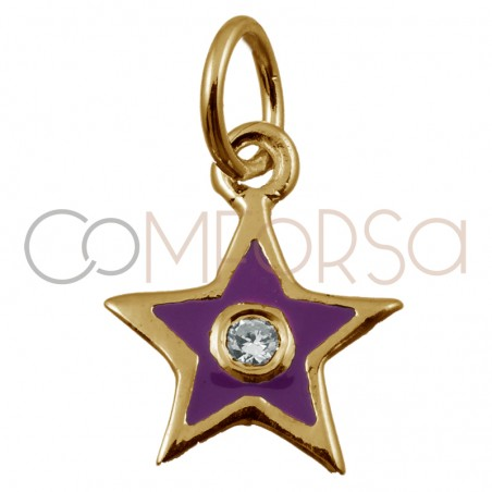 Sterling silver 925 gold-plated star pendant with purple enamel 8 x 10mm