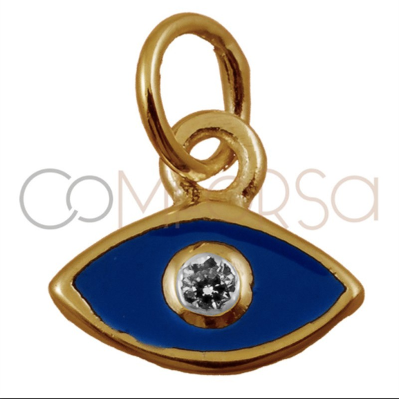 Sterling silver 925 gold-plated God's eye with navy blue enamel 7.9 x 7mm