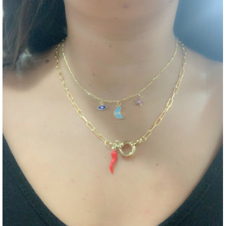Sterling silver 925 gold-plated chili with red enamel 5 x 20mm