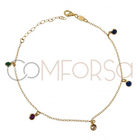 Sterling silver 925 anklet with colourful zirconias 21.5 cm
