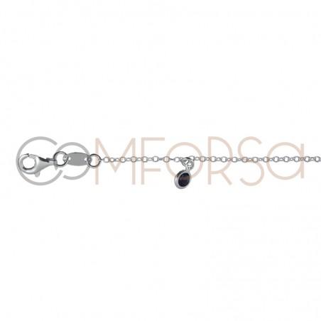 Tobillera circonitas multicolores 21.5 cm plata 925