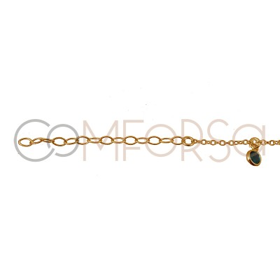 Sterling silver 925 gold-plated anklet with colourful zirconias 21.5 cm