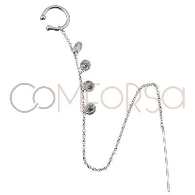 Ear cuff cadena con circonitas 11mm plata 925