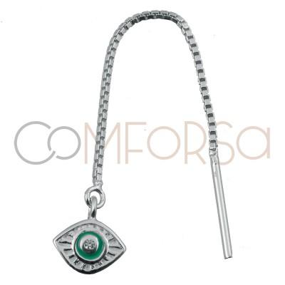 Pendiente cadena con ojo turco plata 925ml