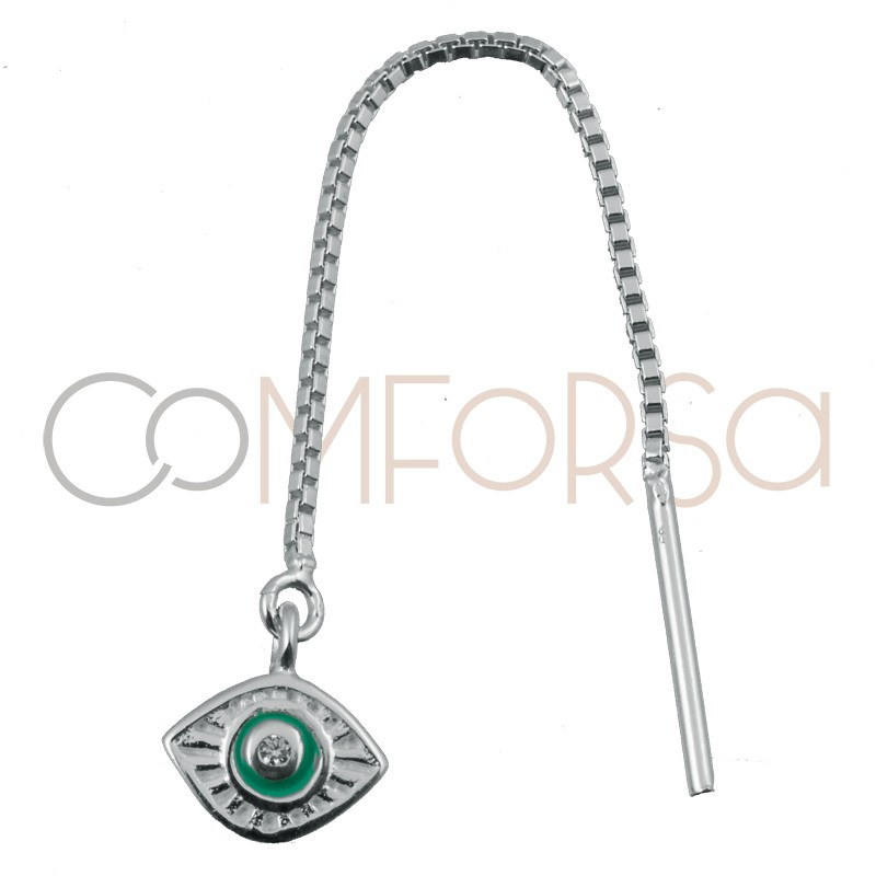 Sterling silver 925 earring with chain and Turkish eye pendant 7 x 6 mm