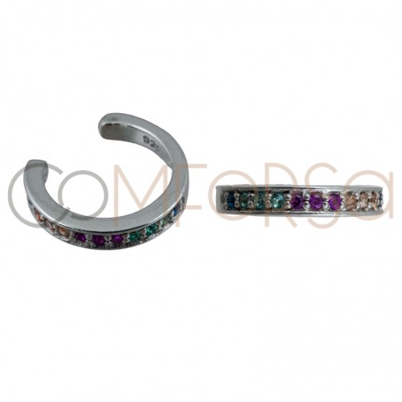 Ear cuff circonitas multicolor 11mm plata 925