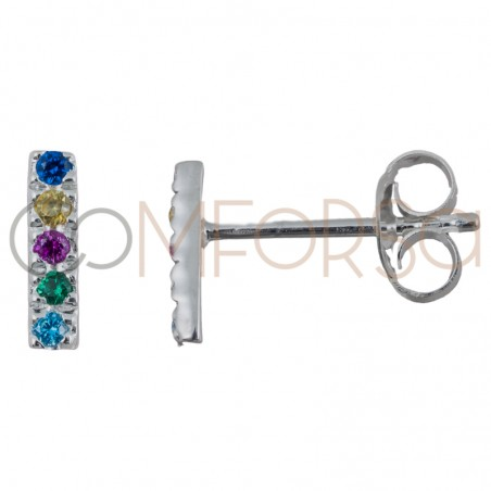 Pendiente barra circonitas multicolor 2 x 8mm plata 925