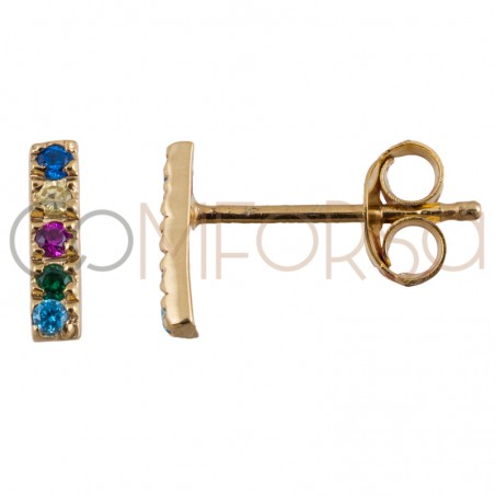 Sterling silver 925 bar earring with multicolour zirconias 2 x 8 mm