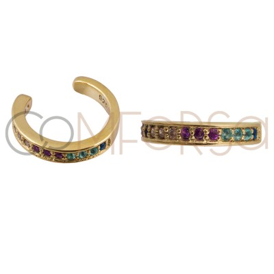 Sterling silver 925 gold-plated ear cuff colourful zirconias 11 mm