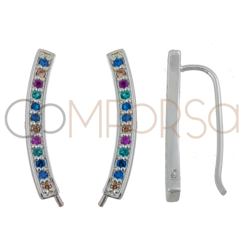 Sterling silver 925 ear crawlers with colourful zirconias 3 x 22 mm