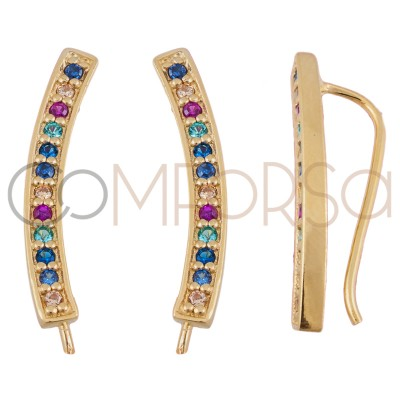 Sterling silver 925 gold-plated ear crawlers with colourful zirconias 3 x 22 mm