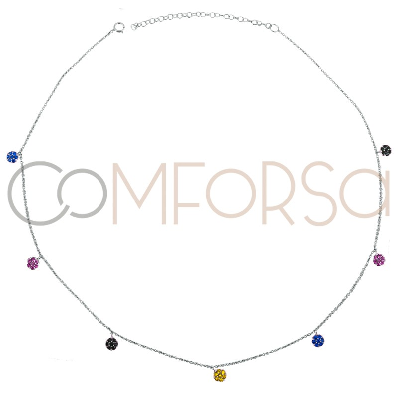Sterling silver 925 rhodium-plated choker with multicolor zirconias 38 cm