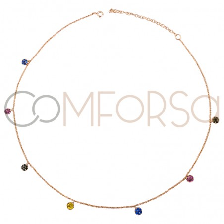 Sterling silver 925 rhodium plated choker with multicolour zirconias 38 cm