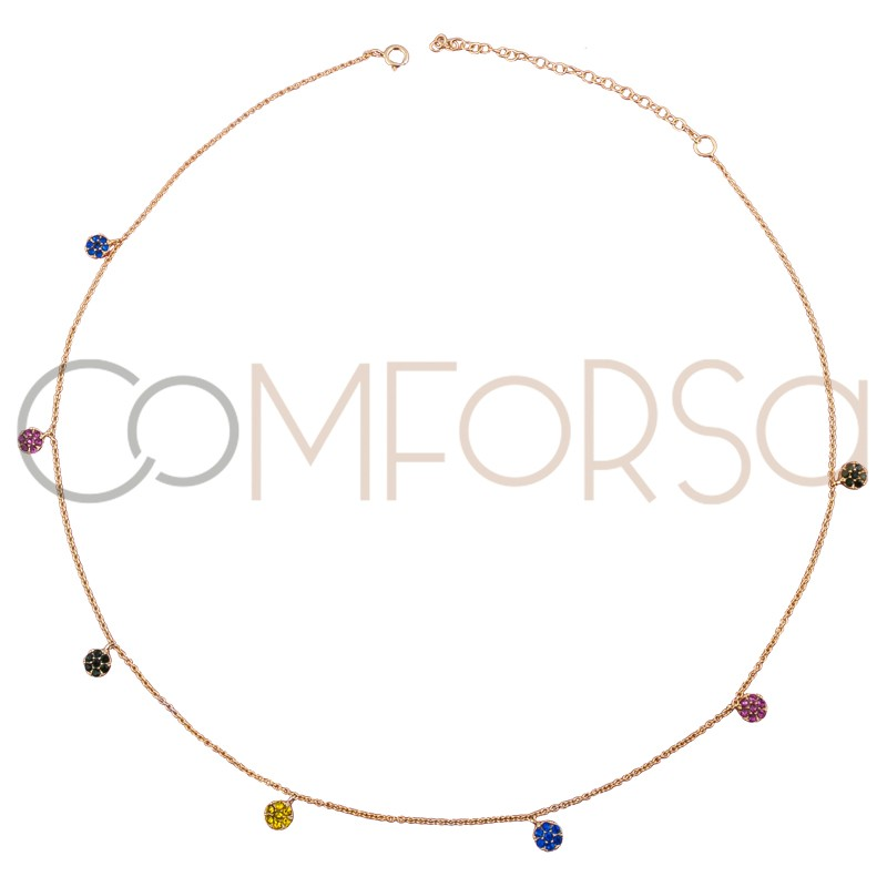 Sterling silver 925 gold-plated choker with multicolour zirconias 38 cm