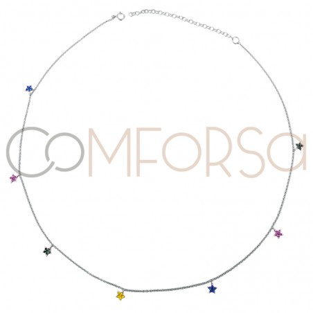 Sterling silver 925 rhodium plated choker with multicolour star zirconias