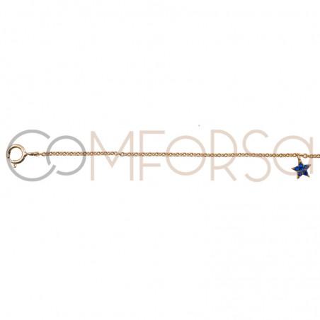 Cadena estrellas con circonitas multicolor 38cm plata chapada en oro